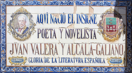 Cabra, Spain - May 19th, 2019: Memorial glazed tiled plaque to Juan Valera, writer born in Cabra, Cordoba, Spain Imagens - 136135304