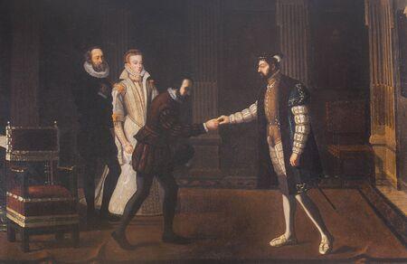 Carlos V visitó a Hernán Cortés, quien estuvo alojado en el Palacio de los Duques de Béjar. Pintado por Jose Caballero Villarroel. Museo de Bellas Artes de Badajoz Editorial