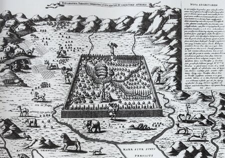 Arca Noe, topography of paradise, by Athanasius Kircher, 1675 Editorial