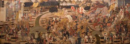 Dublin, Ireland - Feb 20th, 2020: Battle of Anghiari in 1440. Painted by unknown artist in 1460. National Gallery of Ireland Redakční