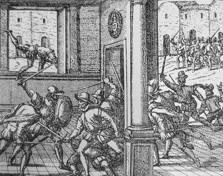 Engraving that recreates the Francisco Pizarro assassination by Almagro supporters, 1541. Peregrinationes, by Theodor de Bry