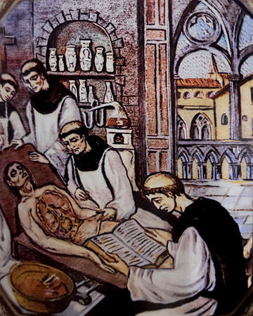 Monastery of Guadalupe monks performing an autopsy, 1569. Unknown artist. The first scientific autopsy in the world was conducted in 1402 by theses monks