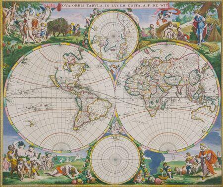 1665 World map by Frederick de Wit from Nova Orbis Tabula in Lucem Edita