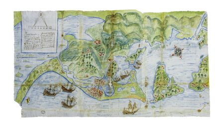 1628 Cartagena de Indias Map and surroundings, after Drake Attack. General Archive of the Indies, Seville, Spain