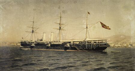 First class Alfonso XII cruise ship anchored in Malaga, 1894. Panted by Emilio Ocon, Museo Naval de Madrid, Spain Reklamní fotografie
