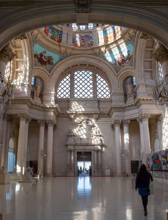 Barcelona, Spain - Dec 26th 2019: Principal dome of Palau Nacional building Barcelona, Spain. Indoors