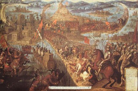 Conquest of Tenochtitlan by Hernan Cortes. Naval warfare details. Unknown 17th Century artist