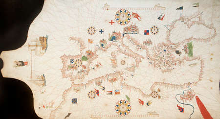 Portolan chart of the Mediterranean Sea by Mateo Prunes, 1563
