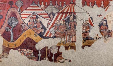 Barcelona, Spain - Dec 26th 2019: Conquest of Majorca in 1229. King James I of Aragon encampment. National Art Museum of Catalonia, Museum of Catalan Art, Barcelona, Spain Redakční