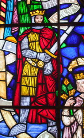 Lisbon, Portugal - March the 1st, 2020: Afonso IV of Portugal, called the Brave, King of Portugal, 14th Century. Depiction on stained glass at Navy Museum, Lisbon, Portugal
