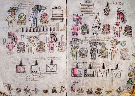 Finery, jewelry and clothes of Aztec people at Mendoza Codex. History of the Aztec rulers and their conquests. Anthropology Museum, Mexico