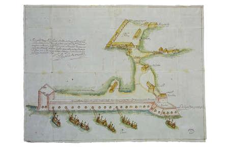 1590 San Juan de Ulua fortification map undertaken after John Hawkins attack of 1658. General Archive of the Indies, Seville, Spain 新闻类图片