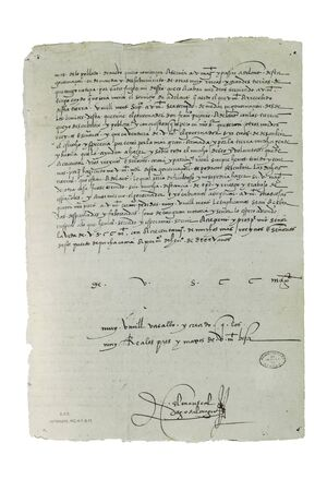 Letter from Marshal Diego de Almagro to Emperor Charles V reporting the Invasion of is jurisdiction by Diego de Alamagro, 1534. Archive of the Indies, Seville Stock Photo
