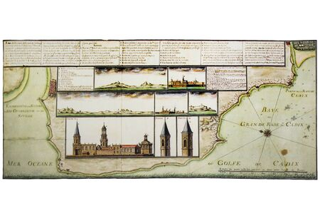 Historic map of Cadiz landmarks and coast key places, 1712. Claude Masse Atlas, mapping compilation made by French espionage services