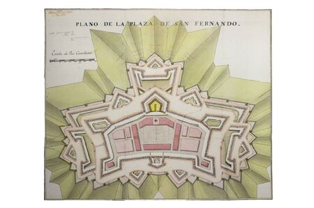 Historic map of San Fernando Fort, Figueres, 1705. Claude Masse Atlas, mapping compilation made by French espionage services