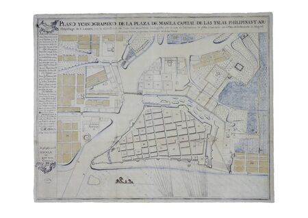 Manila map during the English Fleet siege, 1762. Painted by Miguel Antonio Gomez to the Governor of Philippines Francisco de la Torre. General Archive of the Indies, Seville