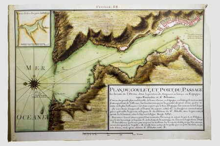 Historic Map of Pasajes, 1712. Strait and harbour of this town located in Gipuzkoa, Basque Country, Spain. Claude Masse Atlas, mapping compilation made by French espionage services