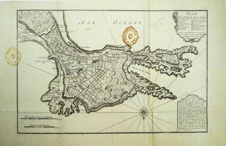 Historic map of Cadiz city, 1800. Made by Jean de Beaurain, Royal Cartographer Reklamní fotografie
