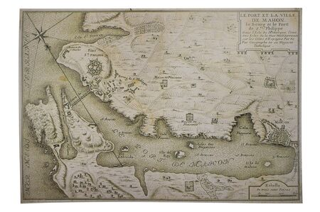 Historic Map of Mahon, Balearic Islands, 1705. Engraving by de Nicolas de Fer