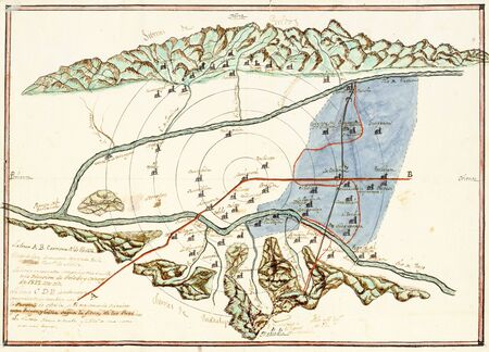 Historical Topographic map of the five leagues comprehension of Navalmoral de la Mata, 1822. Provincial Historical Archive of Caceres, Spain