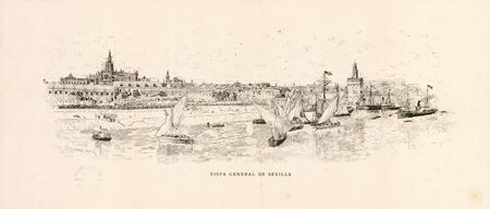 General view of Seville, 1884. Drawing by Antonio Gomez Polo, published by FC Gomez Soler 写真素材