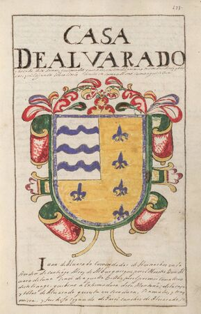 Alvarado House Coat of Arms. Nobleza de Extremadura, by Alejandro de Silva Barreto, 1710. Genealogical chronicle about extremaduran Nobility. Manuscript at Real Academia de la Historia, 1710