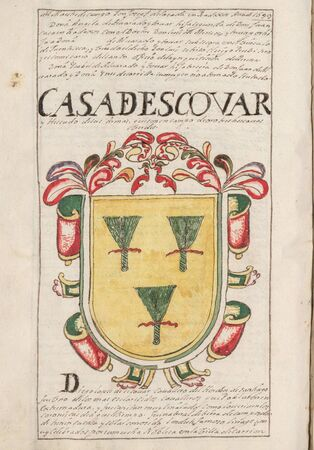 Escobar House Coat of Arms. Nobleza de Extremadura, by Alejandro de Silva Barreto, 1710. Genealogical chronicle about extremaduran Nobility. Manuscript at Real Academia de la Historia, 1710
