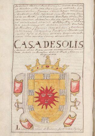 Solis House Coat of Arms. Nobleza de Extremadura, by Alejandro de Silva Barreto, 1710. Genealogical chronicle about extremaduran Nobility. Manuscript at Real Academia de la Historia, 1710 Stock Photo