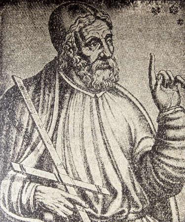 Claudius Ptolemy portrait, Greek mathematician, astronomer, geographer and astrologer. Representation published at Enciclopedia Autodidactica Dalmau, 1954
