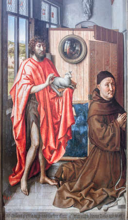 Saint John the Baptist and the Franciscan Heinrich von Werl. Painted by Robert Campin, 1438. Museo del Prado, Madrid Banque d'images - 150302216