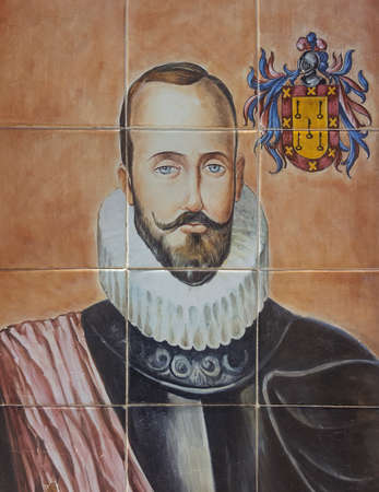 Nuno de Chaves portrait on glazed tile panel. Unknown artist