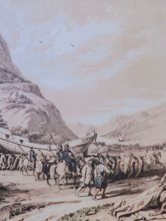 Conquistadors expedition carrying by land unrigged naval ship after landing. Unknown artist. Exploradores Visitors Centre, Trujillo, Spain Archivio Fotografico