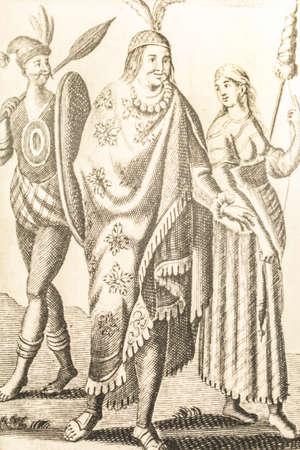 Peruvian inhabitants. Engraved at Woodes Rogers Voyage autour du monde. 1716. Museum of the Americas, Madrid, Spain