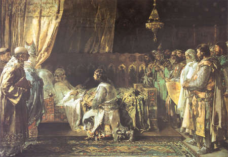 In his final moments, King James I the Conqueror gives his sword to his son, Peter III of Aragon. Painted by Ignacio Pinazo y Camarlench in 1881. Zaragoza Museum