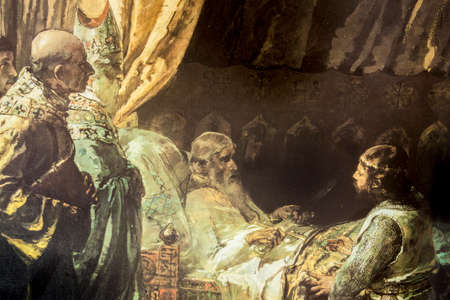 In his final moments, King James I the Conqueror gives his sword to his son, Peter III of Aragon. Painted by Ignacio Pinazo y Camarlench in 1881. Zaragoza Museum. Detail 新聞圖片