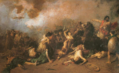 Last day of Saguntum. Painted by Francisco Domingo Marques in 1869. Provincial Council of Valencia. Battle which took place in 219 BC between Carthaginians and Saguntines