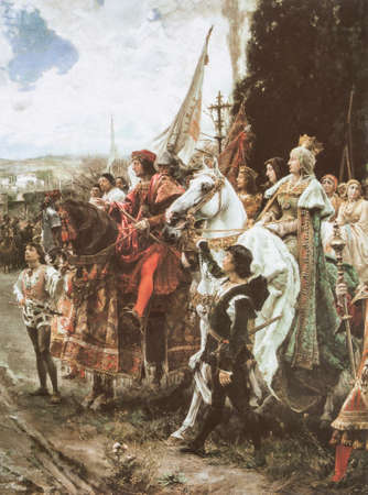 Capitulation of Granada. Painted by Francisco Pradilla y Ortiz in 1882. Scene of Granada War 1482-1491. Christian troops detail