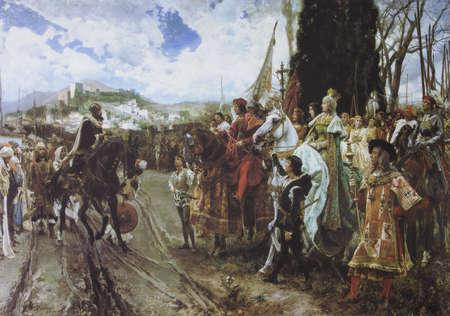 Capitulation of Granada. Painted by Francisco Pradilla y Ortiz in 1882. Scene of Granada War 1482- 1491, Catholic Monarchs against the Nasrid dynasty Emirate of Granada Editoriali