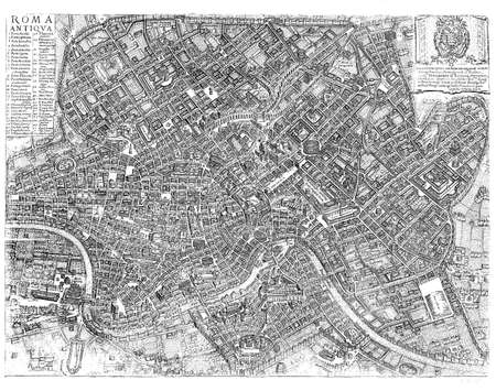 Imperial Rome map. 1500 engraving made by Ioanni Vicentio and Gotfridus de Scachiis Editorial