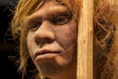 Madrid, Spain - Marh 6th 2021: Life-sized sculpture of Neanderthal female, MAN Madrid. Selective focus