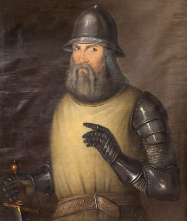 Alfonso Jofre Tenorio portrait, Admiral of Castile. 19th Century painting. Unknown artist
