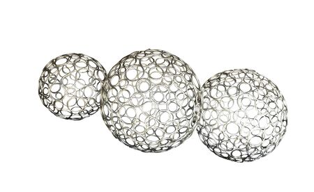 Three metal balls isolated on white background