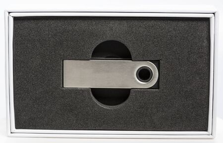 Close up of a a hardware wallet in its packaging Stock Photo