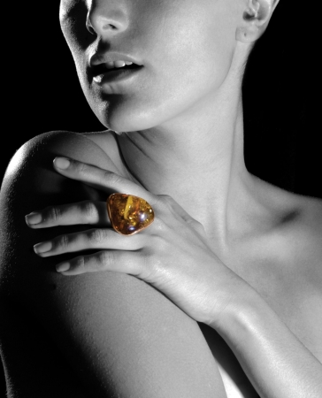 image of woman with ring and rock photo