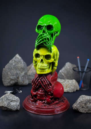 The statue of skulls no evil hear or see in rastaman colors Фото со стока