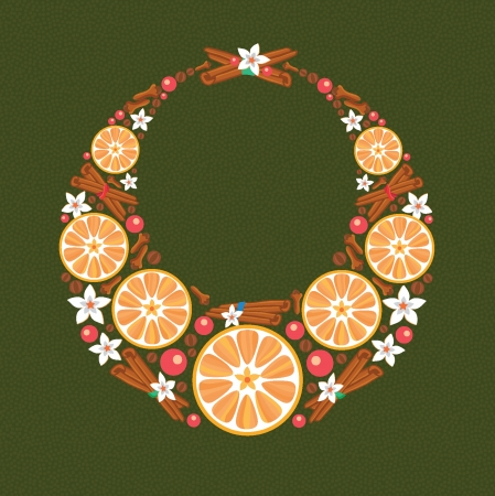 Wreath made from oranges and cinnamon Vector
