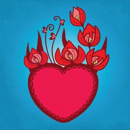Hearts and Flowers card Vector
