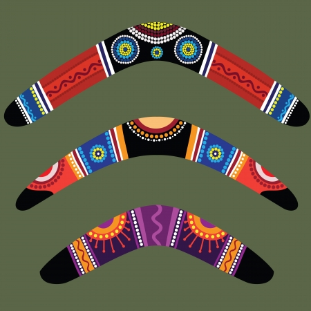 Boomerangs avec la conception autochtone Vecteurs
