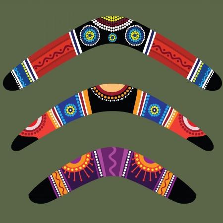 Boomerangs con diseño aborigen Ilustración de vector