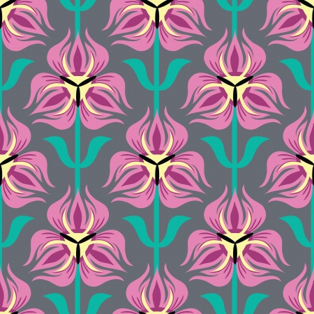 Seamless Pattern with Pink tulips Stock Vector - 17572128